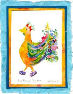 """Free Range Chicken"" watercolour"