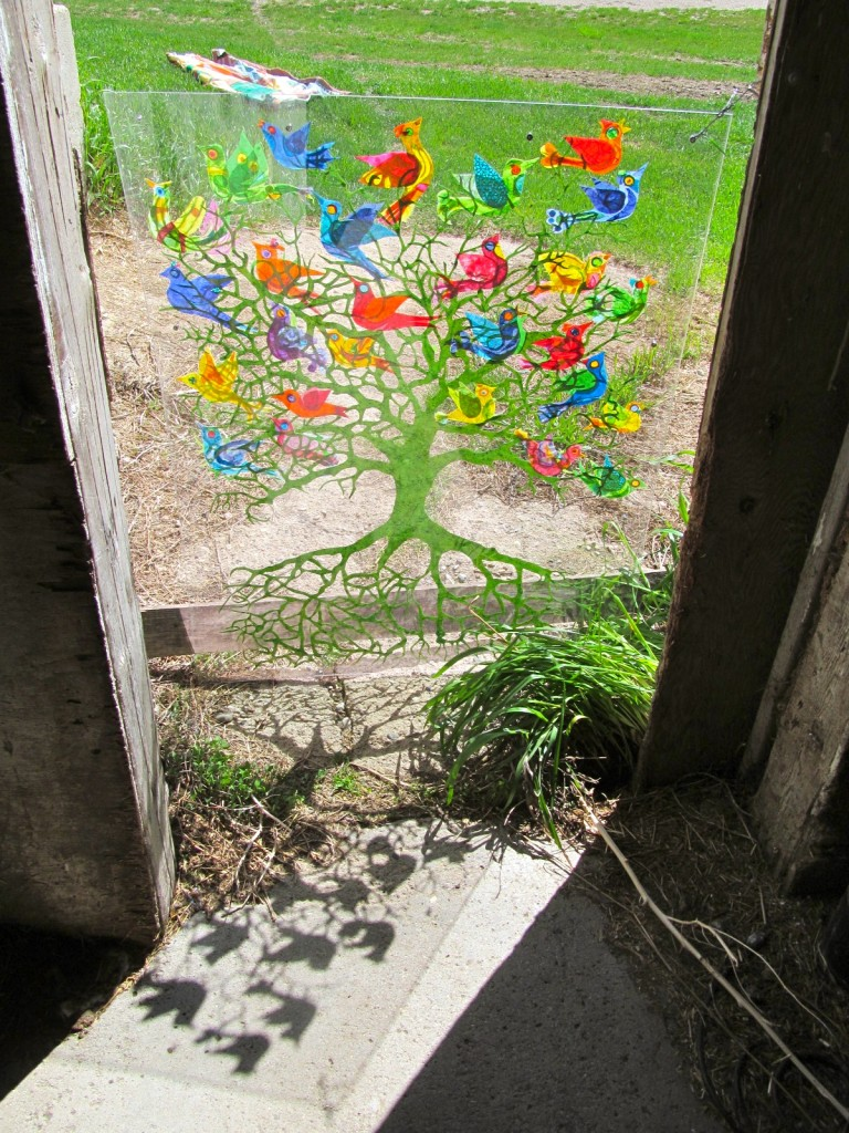"""Tree"" Rice paper in plexiglass, from the inside of the barn…love the shadows"