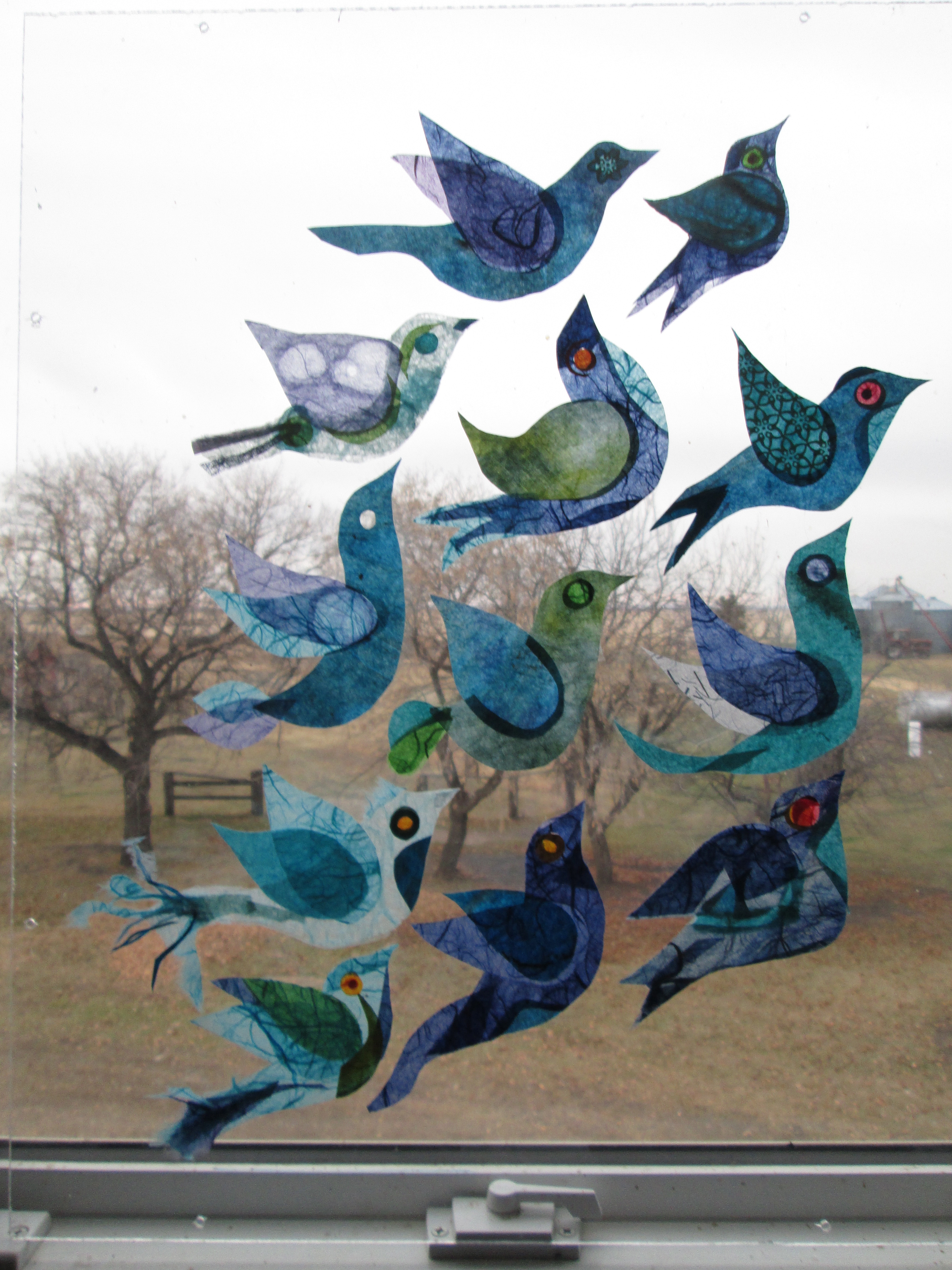 "Yearning #1, Rice paper Birds on Plexiglass, 16"" x 20"""