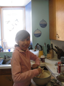 My God-Daughter Janaye baking with me