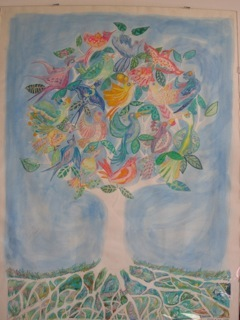 Tree of Birds - wax crayons, watercolour paint, 1991