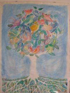 Tree of Birds - wax crayons, watercolour paint, 1991