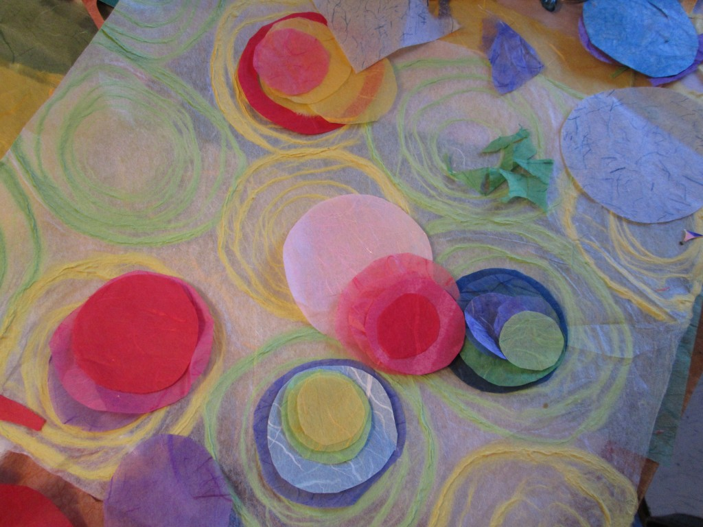 "in the creating stage ""Rice Paper Polka"". This began as ""fall colours"" but something entirely different happened!!"