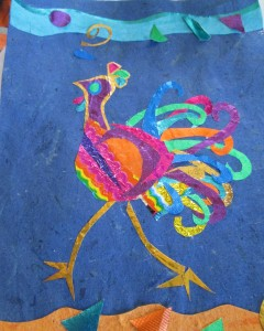 Rooster? Hen? with somewhere to go. Candy wrappers, cigarette foils on paper