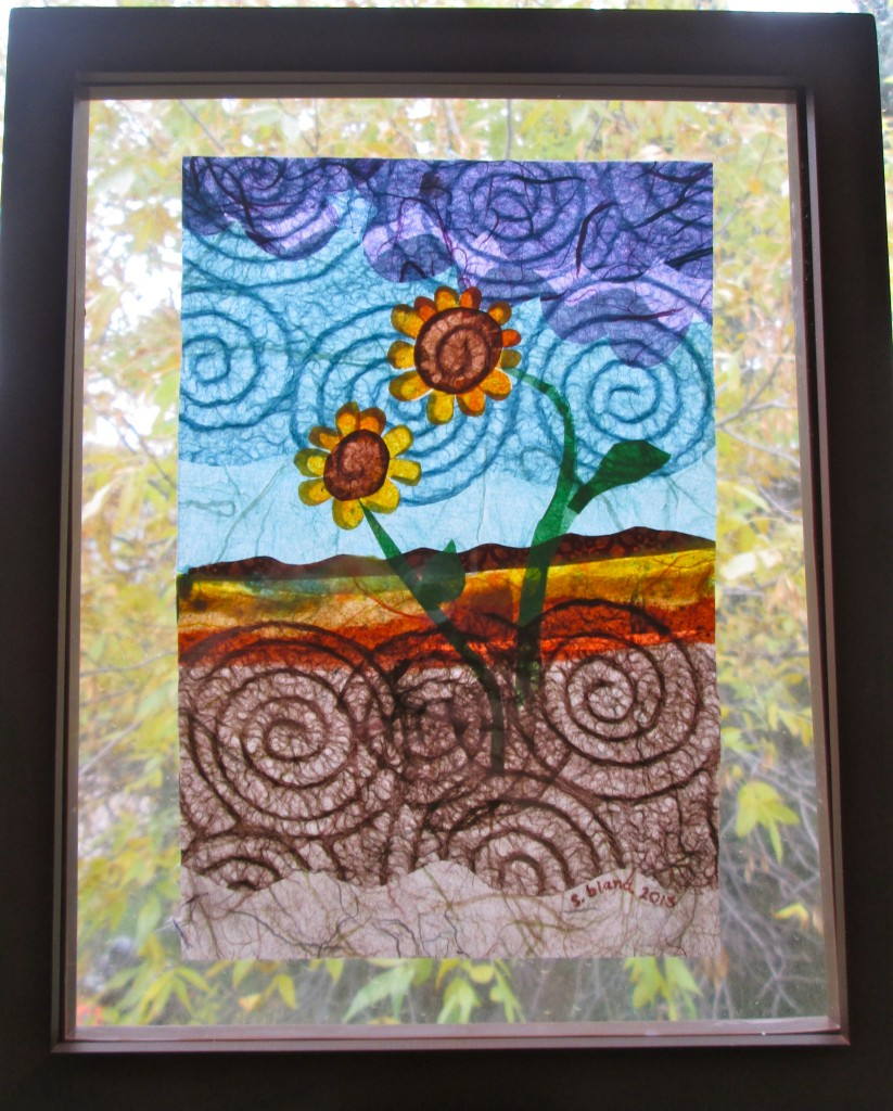 """Circle Dance"" Rice paper in Floating Glass Frame, 8 x 10, $60"