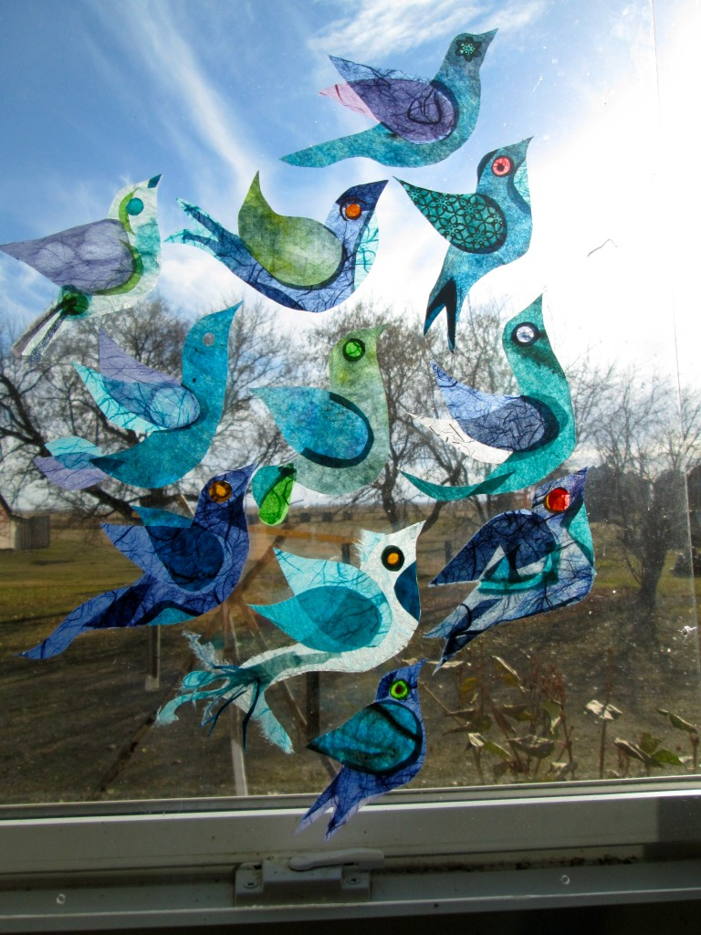 """Yearning"" Rice paper Birds on plexiglass"