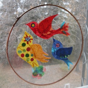 Dorothy from the Little Glass Hut in Lebret has been very generous helping me as I look for new ways to let these larks fly. These ones are between two circles of glass.