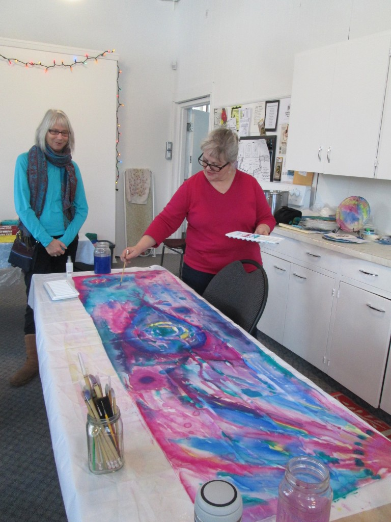 Marg, silk painting artist watches Kate, silk painting artist. They match their art! Can you believe it!?