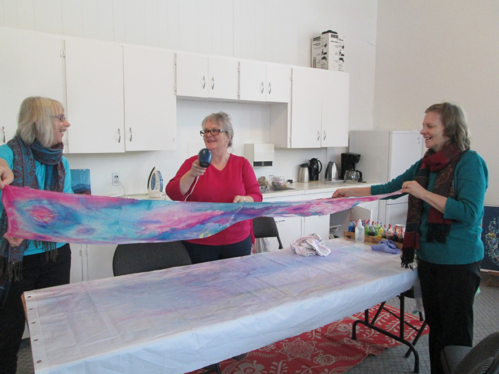 Drying the silk with Joan helping