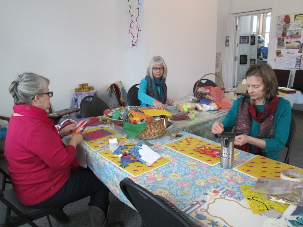 On Sunday morning, all was quiet, so as well as silk painting we cut and pasted. Kate, Marg and Joan