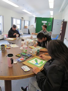 We were pretty absorbed in our art - not much chatting - just music and painting!