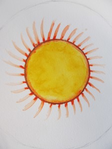 It was a cloudy cold day, so TC painted a sun to warm us up!!