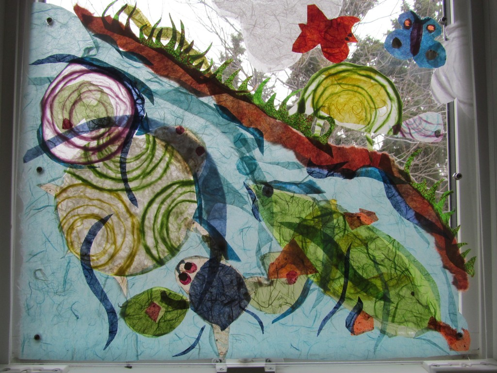 Not everything could fit on the large panel so this smaller panel will go in the grade 4 classroom. It features turtles, a fish, a snake, a frog and some butterflies and clouds