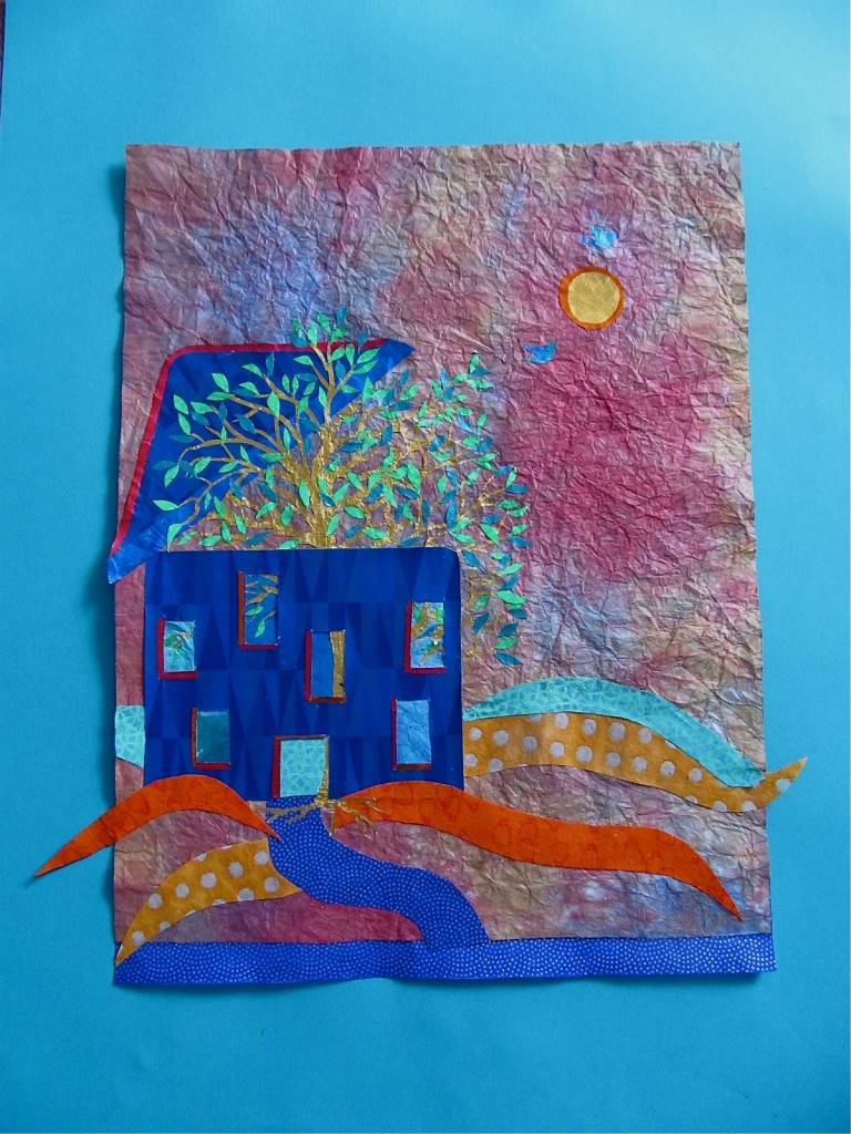 """Raising the Roof"" - Paper collage using candy wrappers, envelope lining, cigarette foils and other papers"