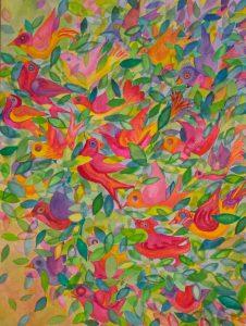 """Birds on Fire"". watercolour, 18"" x 24"""