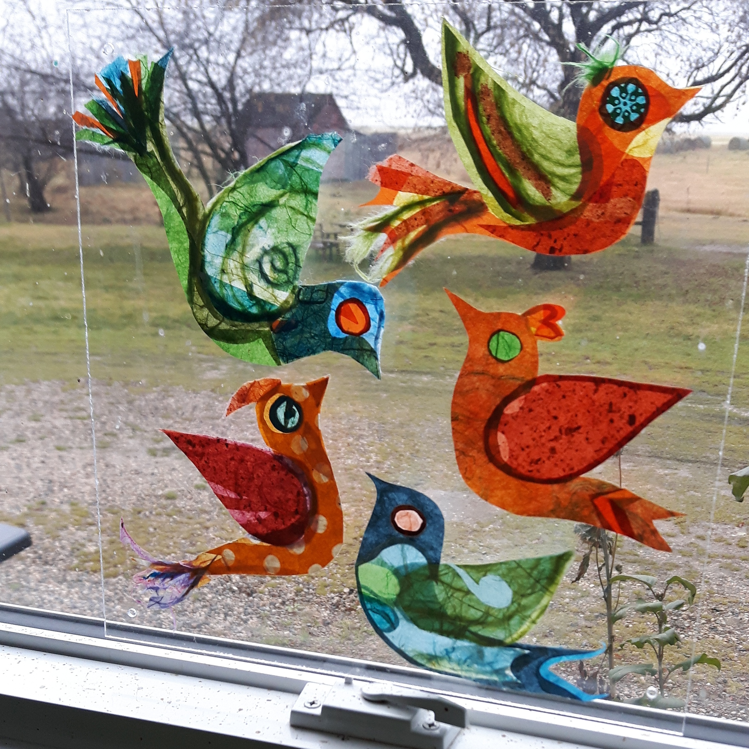 "Yuka's Birds, Rice Paper Plexiglass Panel, 10"" x 10"""