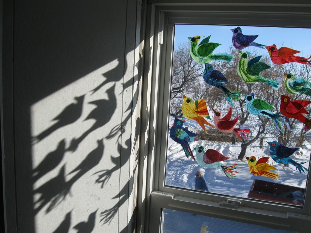 Rice Paper Birds on a winter's day