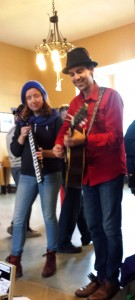 performing at the Jasper Train Station