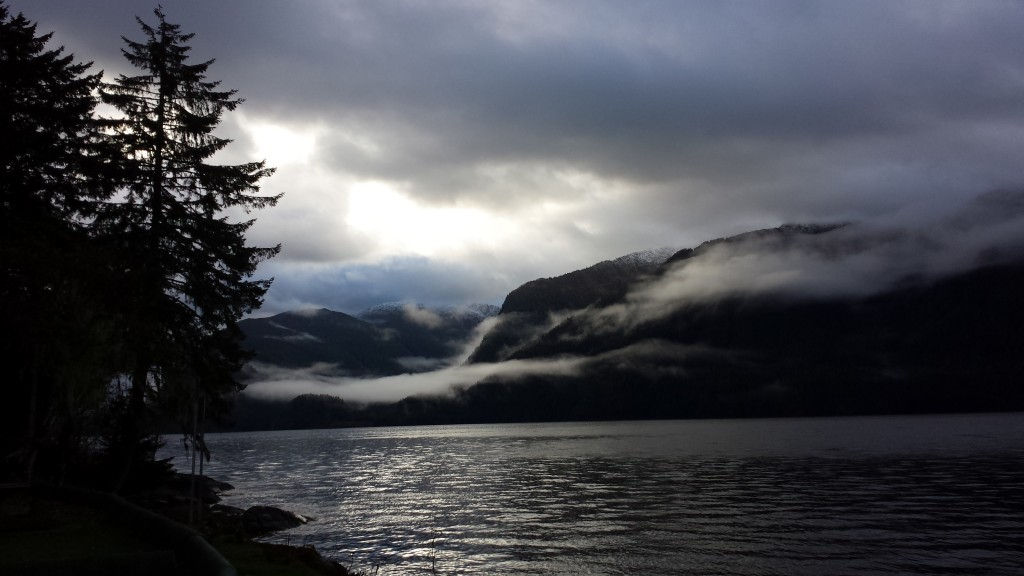 low lying clouds, shifting on the Skeena River