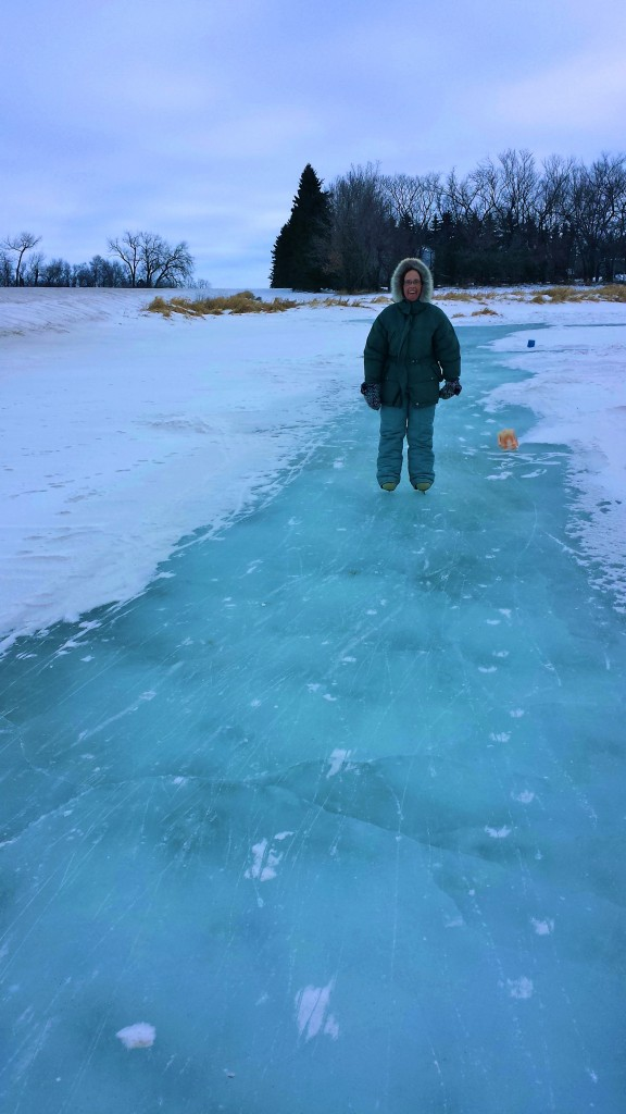 Debra on the light coloured ice