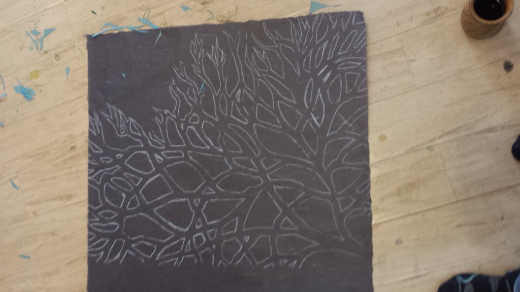 Tracing the template on to Brown Silk Ashiro Paper