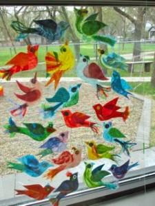 """An Exultation of Larks"", Rice Paper Birds in Plexiglass"