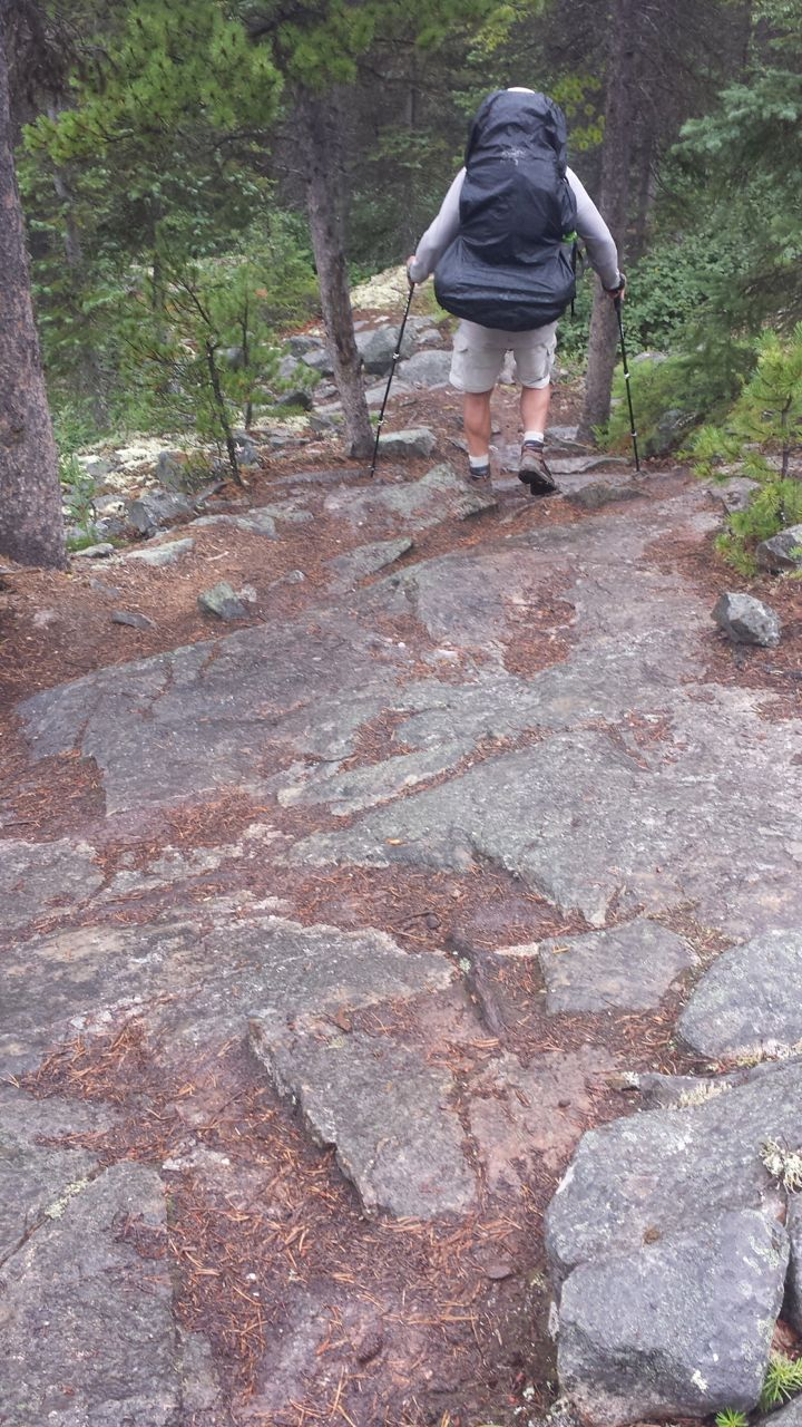 The rain made the rocks on the trail very slippery at times.