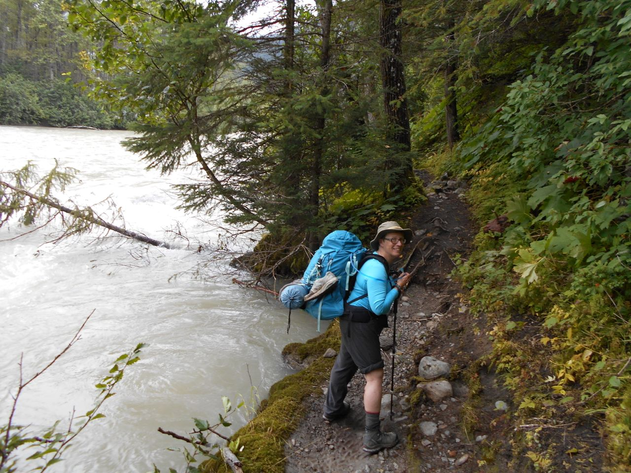 You can see how high the Taiya River is here. While it made things wet we never had to wade in water any deeper than our ankle. The previous day, hikers had been up their knees and even thighs.