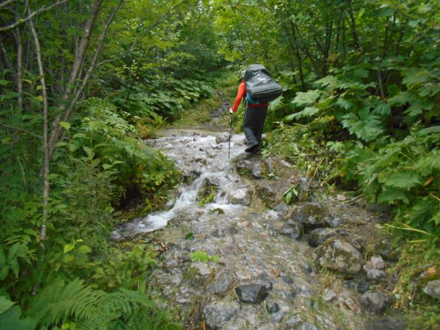 Finding my way across a stream. there streams and small waterfalls everywhere.